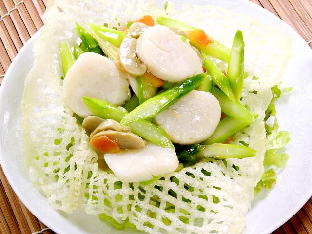 (広東)季節野菜とホタテのいため
